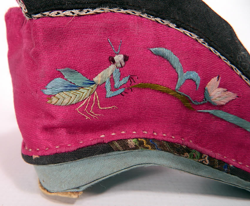 Antique Chinese Silk Embroidered Mantis & Bird Bound Foot Lotus Slipper Shoes. This pair of slippers show virtually little to no wear. They are in good condition, with only a tiny fray along the braided rope trim edging. These are truly a wonderful one of a kind piece of Chinese textile art which would make for a wonderful display piece!