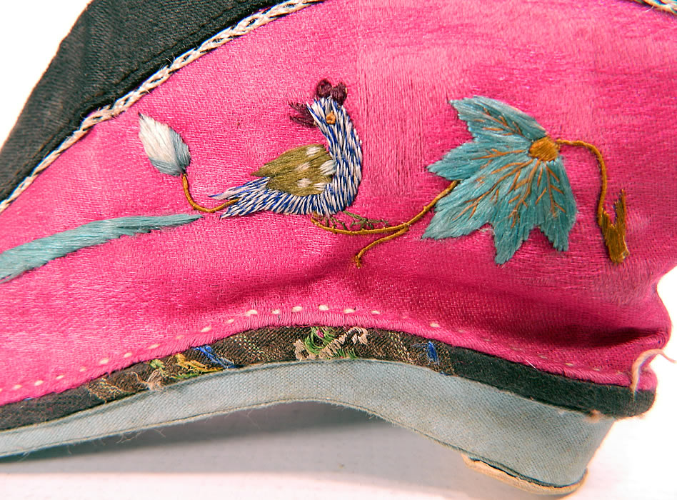 Antique Chinese Silk Embroidered Mantis & Bird Bound Foot Lotus Slipper Shoes. This pair of women's small slipper shoes are fully lined, with blue fabric bottom soles and leather cap nailed heels.