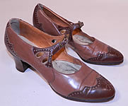 Vintage Two Tone Punchwork Brown Leather Buckle Strap Mary Jane Shoes.