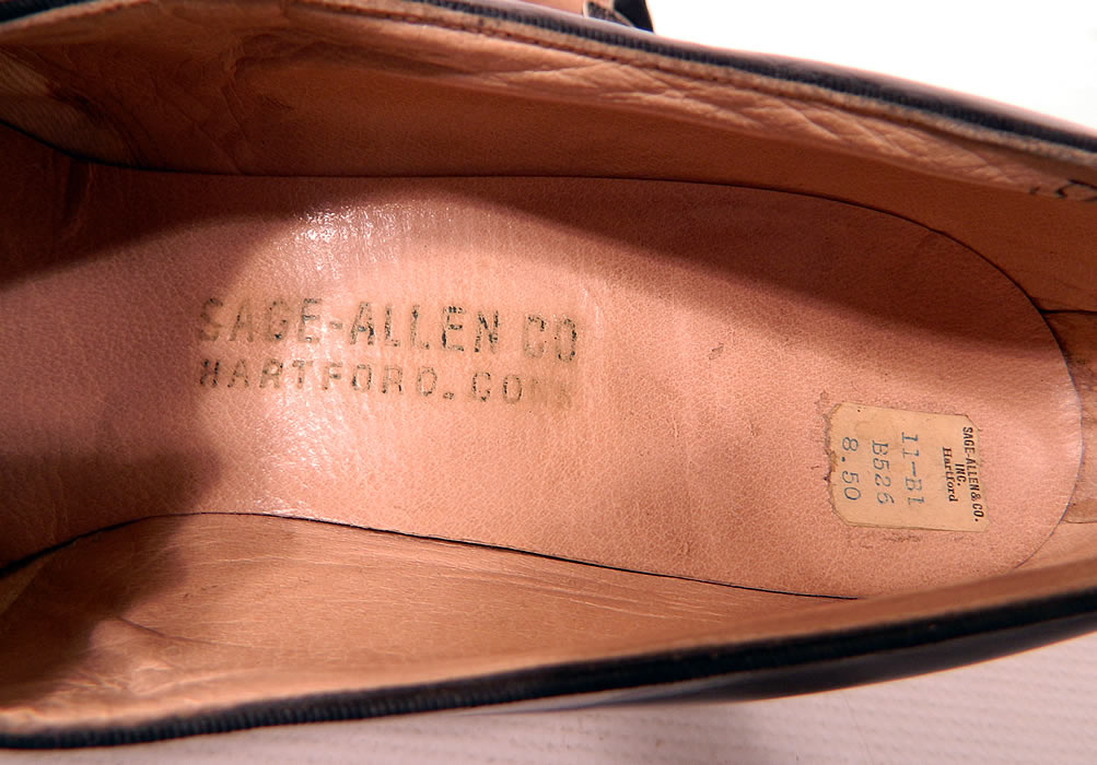"Vintage Sage Allen Co Hartford Art Deco Black Suede Leather Shoes. They have a ""Sage-Allen Co Hartford, Conn."" label stamped inside and original price tag of $8.50."