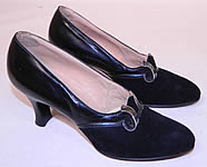 Vintage Sage Allen Co Hartford Art Deco Black Suede Leather Shoes