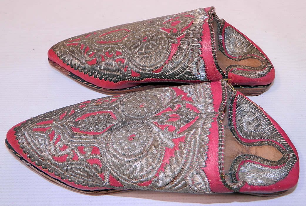 Vintage Moroccan Ladies Mules Cherbil Metal Embroidery Red Leather Slipper Shoes. These ladies stunning slip-on slipper shoe, backless mules cherbil have pointed toes and multi layered stacked leather bottom soles.