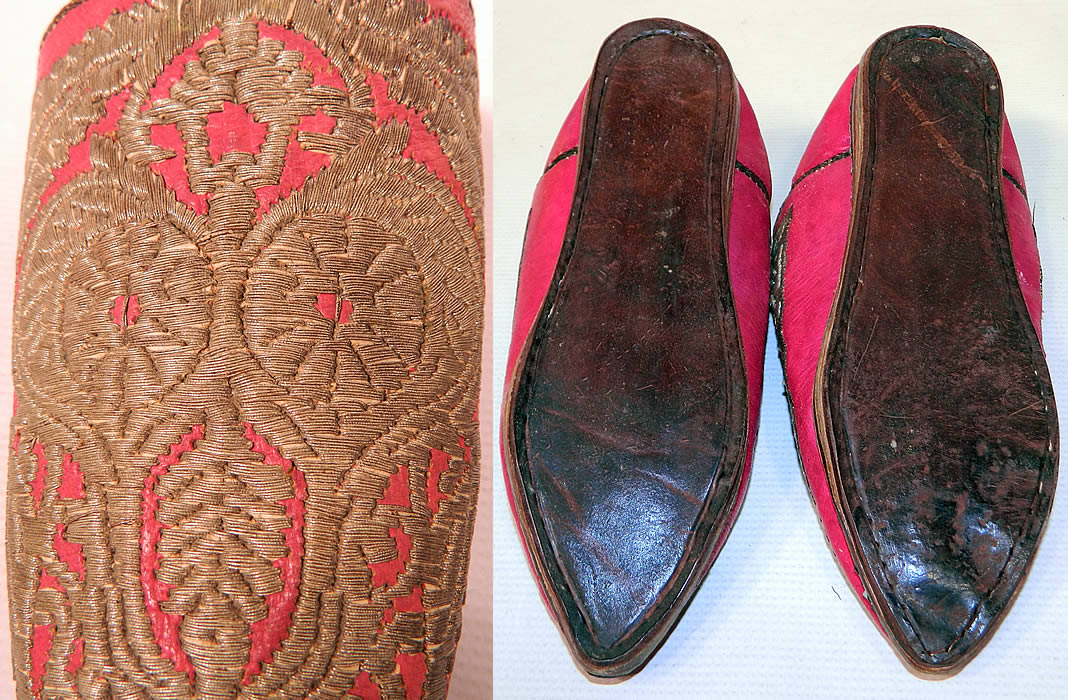 Vintage Moroccan Ladies Mules Cherbil Metal Embroidery Red Leather Slipper Shoes. These are truly a beautiful one of a kind piece of wearable antique Moroccan textile art!
