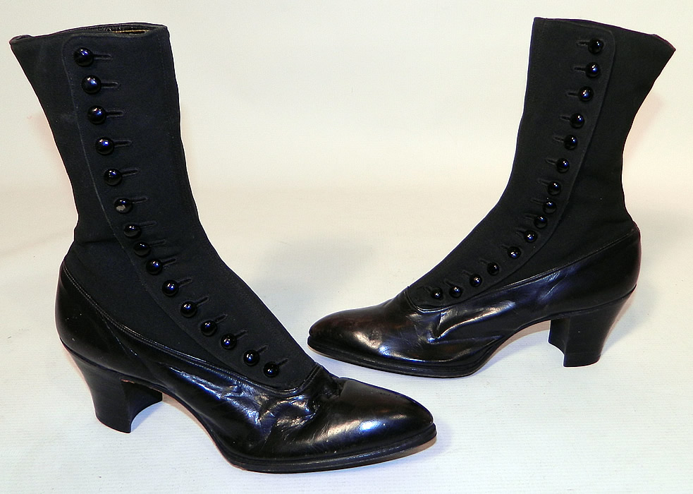 Unworn Victorian Black Wool & Leather High Top Button Boots Poehlman Shoe Co. This pair of unworn antique Victorian era black wool and leather high top button boots Poehlman Shoe Co. dates from 1900.