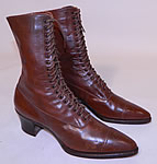 Vintage Unworn Victorian Brown Leather High Top Lace-up Boots Poehlman Shoe Co