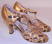 Vintage Quali Craft Art Deco Gold Leather Ring Chain Link Lattice T-Strap Shoes
