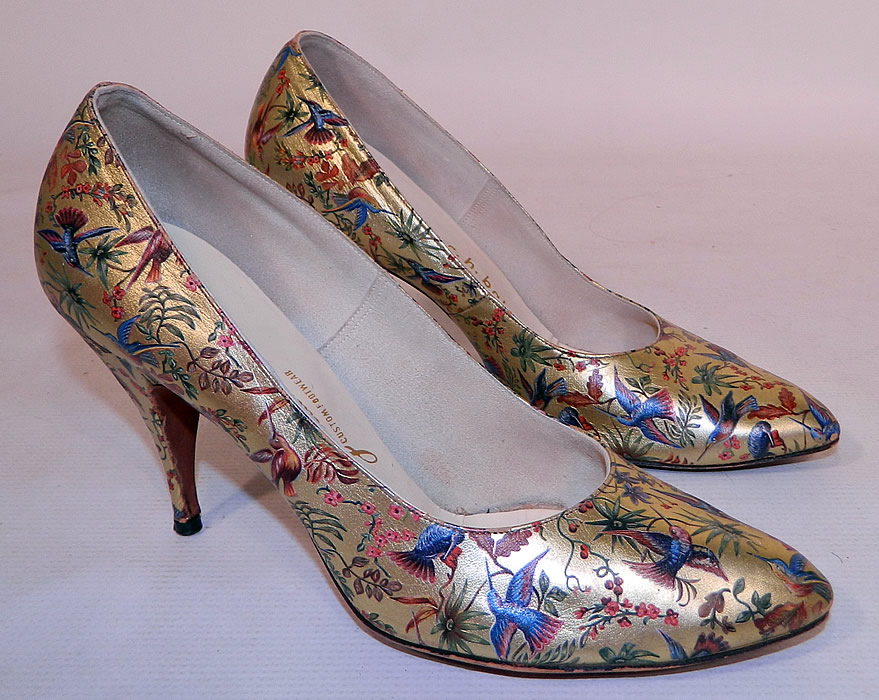 Vintage Galliano Gold Leather Botanical Hummingbird Print Stiletto Heel Shoes. This pair of vintage Galliano gold leather botanical hummingbird print stiletto heel shoes date from the 1950s.