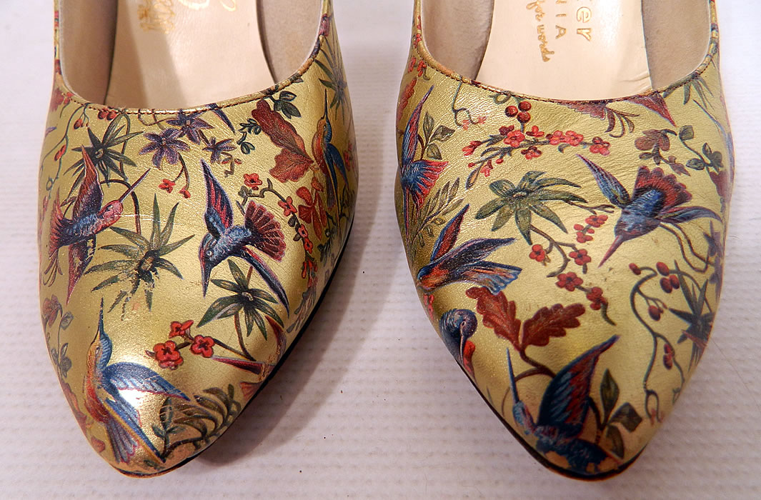 Vintage Galliano Gold Leather Botanical Hummingbird Print Stiletto Heel Shoes. These elegant evening shoes have a pump style, with stiletto high heels.