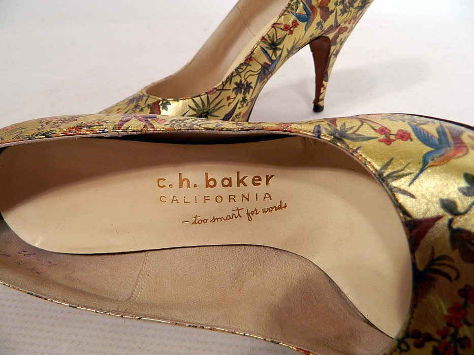 "Vintage Galliano Gold Leather Botanical Hummingbird Print Stiletto Heel Shoes. There is a ""Galliano Custom Footwear"" and ""C.H. Baker California"" labels gold embossed on the insoles inside."