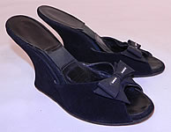 Vintage 1950s Black Suede Leather Rhinestone Bow Springolator Wedge Heel Mules Shoes