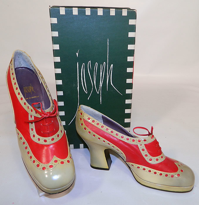 Unworn Vintage Jerry Edouard Joseph Red Eyelet Leather Oxford Platform Shoes & Box. This pair of unworn vintage Jerry Edouard Joseph red eyelet leather oxford platform shoes and box date from the 1970s.