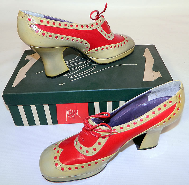 Unworn Vintage Jerry Edouard Joseph Red Eyelet Leather Oxford Platform Shoes & Box. These fabulous funky shoes have an oxford platform style, with a front lift, rounded toes, chunky high heels and red shoestring laces.