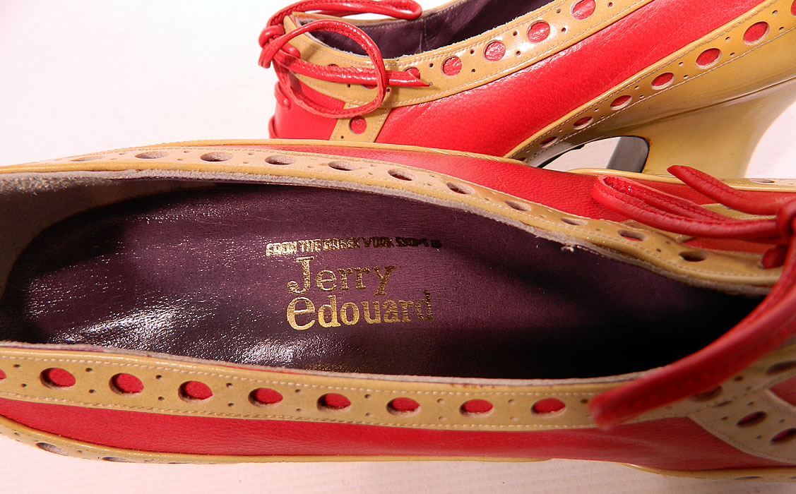 "Unworn Vintage Jerry Edouard Joseph Red Eyelet Leather Oxford Platform Shoes & Box. There is a ""Jerry Edouard"", ""Joseph Made in Greece"" label gold embossed on the insoles and are stamped on the black bottom soles ""Made in Greece D. Sevastakis""."
