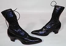 Vintage Poehlman Shoe Co Unworn Victorian Black Leather High Top Lace-up Boots.