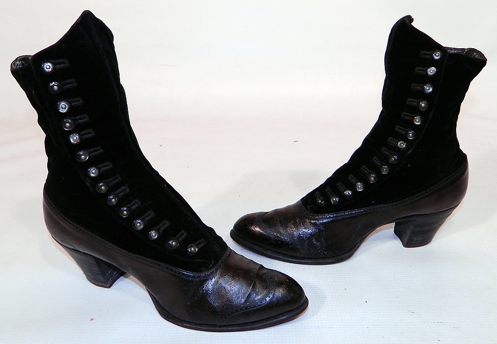 Victorian Black Velvet & Leather High Top Button Boots WH Tuttle Co Boston. This pair of antique Victorian era black velvet and leather high top button boots WH Tuttle Co. Boston dates from 1900. They are made of a black leather bottom shoe, with a black velvet fabric top.