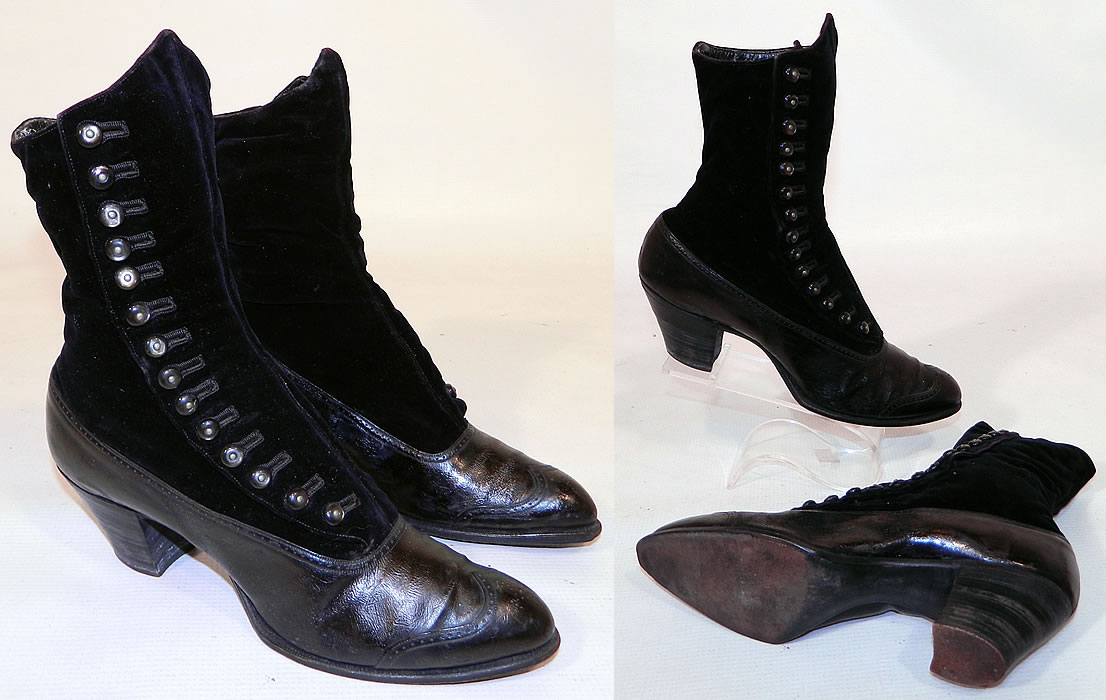 Victorian Black Velvet & Leather High Top Button Boots WH Tuttle Co Boston. The boots measure 9 inches tall, 10 inches long, 2 1/2 inches wide, with 2 1/2 inch high heels. These antique boots are difficult to size for today's foot, but my guess would be about a US size 6 narrow width. They are gently worn, in good wearable condition, with some flaking of the inside leather trim. These are truly a rare and beautiful quality made antique boot!