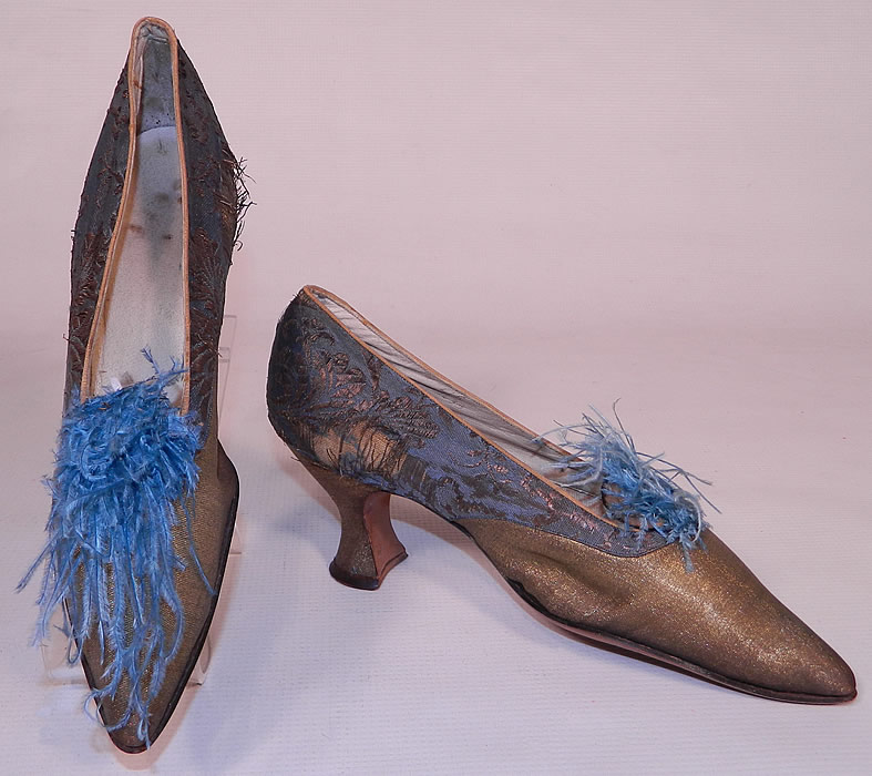 Edwardian Titanic Blue Silk Gold Lamé Damask Brocade Feather Trim Shoes. This pair of vintage Edwardian Titania era blue silk gold lamé damask brocade feather trim shoes date from 1912.