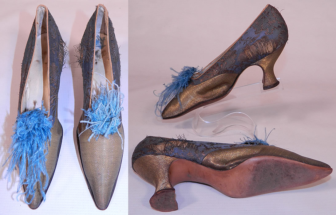 Edwardian Titanic Blue Silk Gold Lamé Damask Brocade Feather Trim Shoes. The shoes measure 10 inches long, 2 1/2 inches wide, with a 3 inch high heel and are stamped inside a size 4.