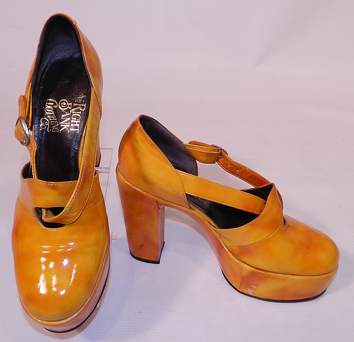 Vintage Mignani Right Bank Clothing Yellow Patent Leather  Platform Shoes. They are made of a tie dye two tone gold yellow color patent leather. I would guess the approximate size to be a 7 1/2 or 8. They are in good condition and have been gently worn. These are truly a rare and wonderful piece of wearable shoe art!