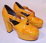 Vintage Mignani Right Bank Clothing Yellow Patent Leather  Platform Shoes.