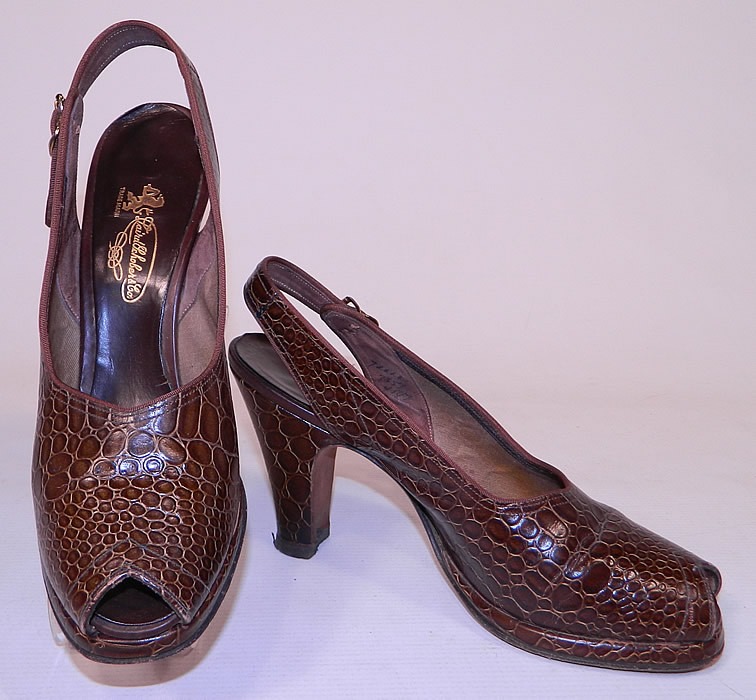 Vintage Laird Schober & Co Brown Leather Alligator Slingback Platform Shoes 