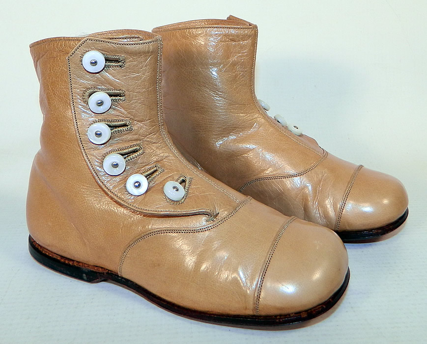 Unworn Victorian Tan Leather High Button Baby Boots Infant Childs Shoes