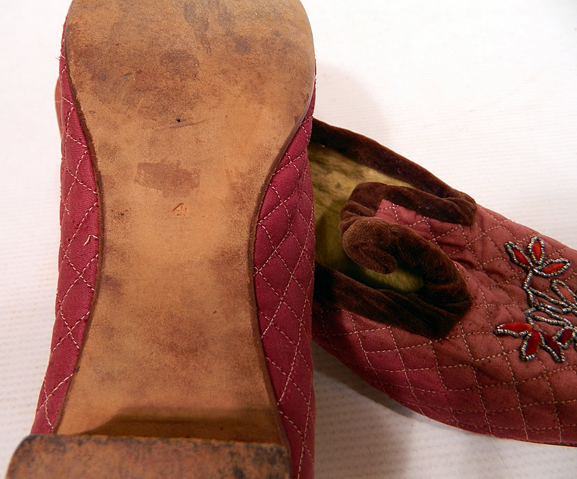 Victorian Burgundy Quilted Silk Steel Cut Beaded Velvet Trim Slipper Shoes