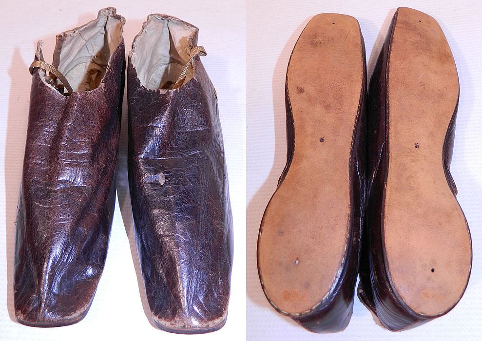 Victorian Brown Leather Crooked Sole Side Lacing Dainty Ankle Half Boots