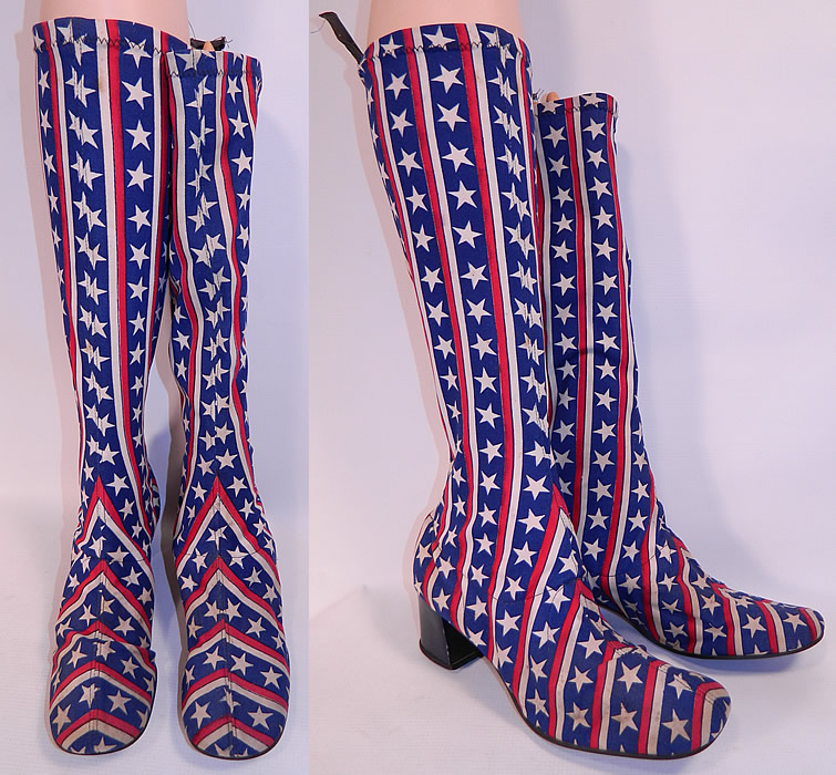 Vintage Patriotic Red White Blue Stars & Stripes Stretch Fabric Knee High GoGo Boots