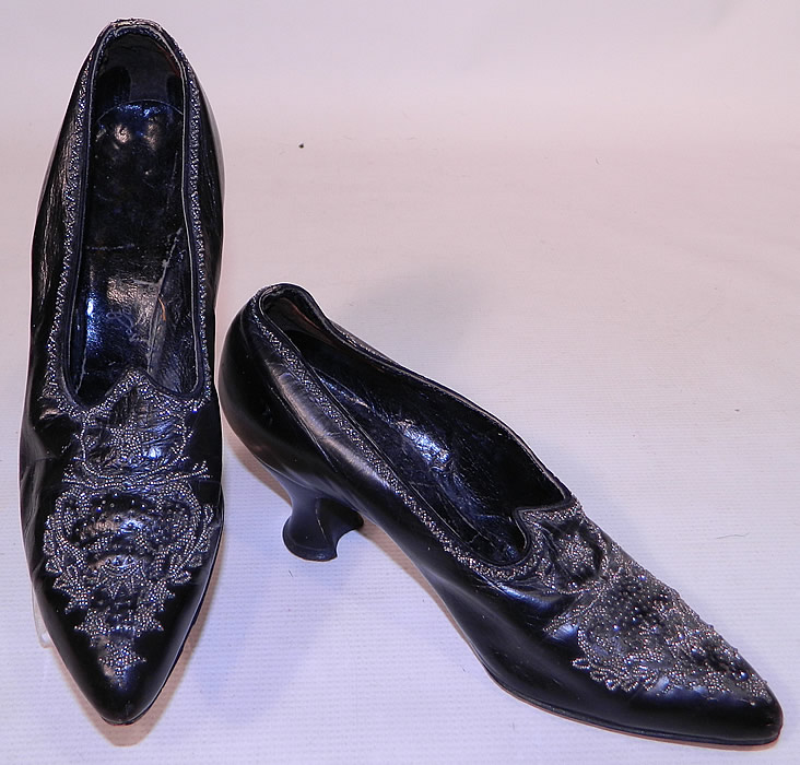 Victorian Black Leather Steel Cut Beaded Trim Patriotic Stars Shoes