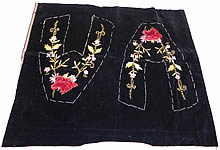 Victorian Black Velvet Embroidered Red Horse Unused Slipper Shoe Fabric