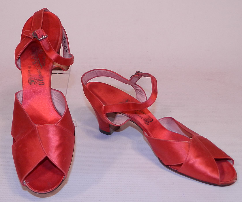 Vintage O'Connor & Goldberg Red Silk Satin Ankle Strap Evening Shoes