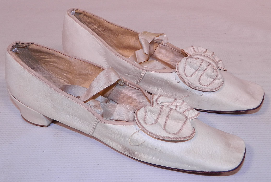Victorian Wedding White Kid Leather Bow Trim Ribbon Ties Straight Sole Shoes