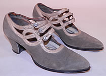 Vintage R.H. White Co.  Gray Suede Leather Button Strap Mary Jane Flapper Shoes
