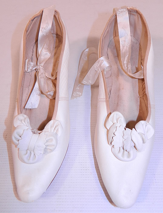 Victorian White Kid Leather Bow Trim Silk Ribbon Ties Wedding Shoes
