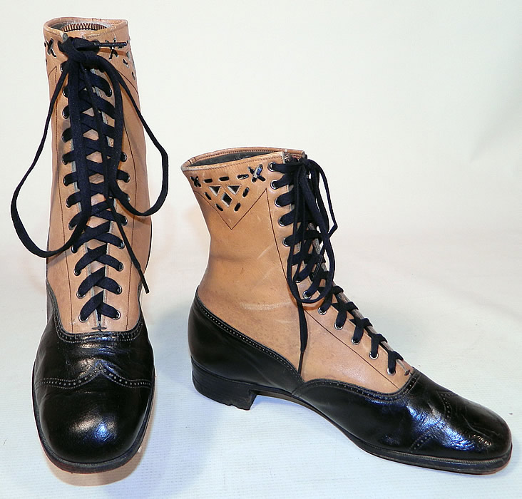 Edwardian Black & Tan Two Tone Leather Lacing Cutouts High Top Boots Shoes