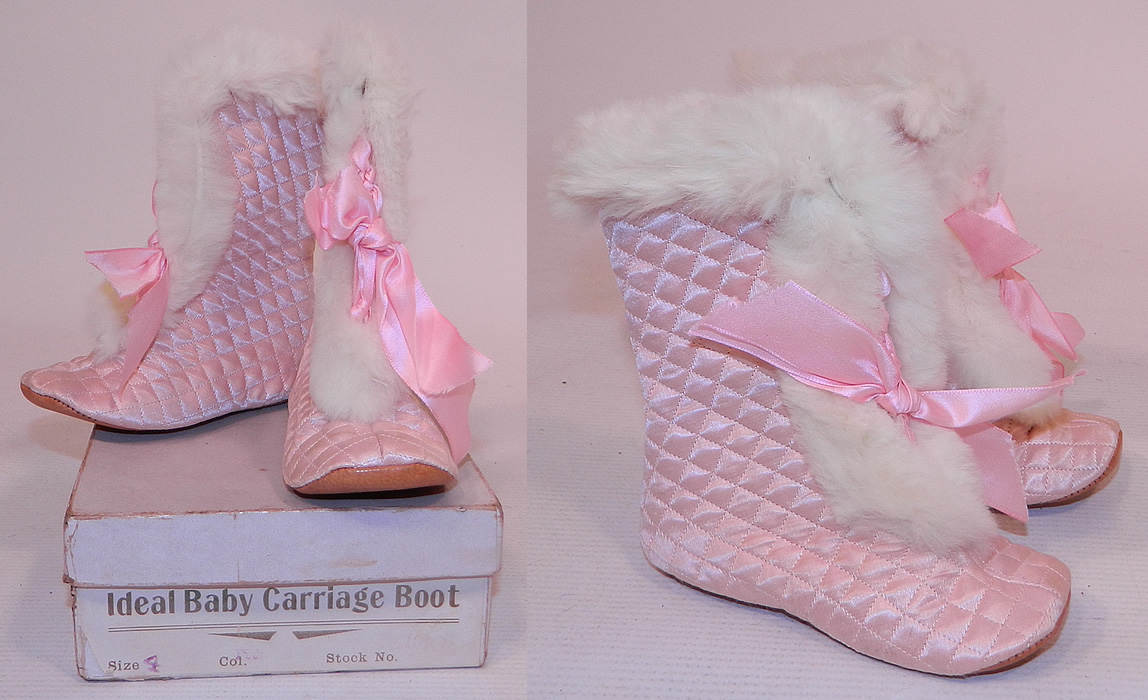 Vintage Ideal Baby Carriage Boot Pink Quilted White Fur Trim Winter Child Shoes & Box