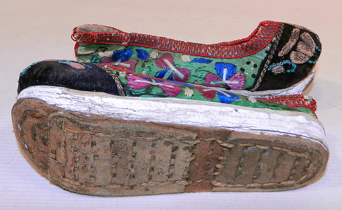 Antique Chinese Forbidden Stitch Embroidered Bound Foot Slippers Platform Shoes