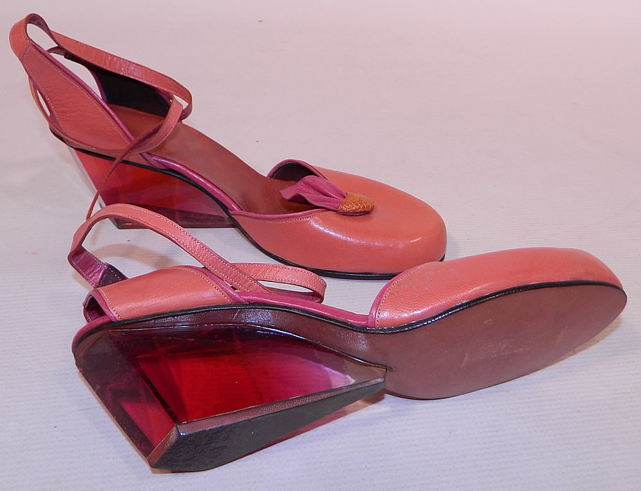 Vintage Gaza Bowen Rose Leather Lucite Plexiglass Wedge Heel Sculptor Art Shoes.