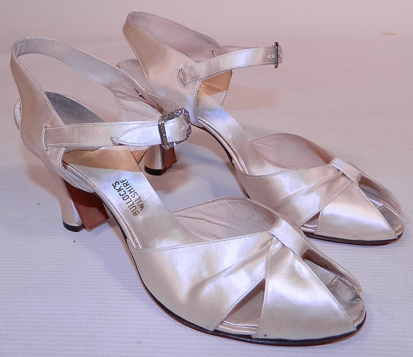 Vintage Bullock 39 S Wilshire White Silk Satin Ankle Strap Evening Bridal We