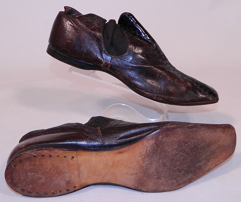 Victorian Brown & Black Leather Crooked Sole Square Toe Dainty Ankle Half Boots
