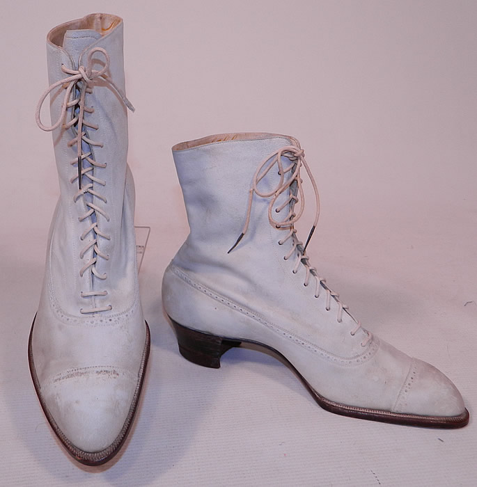 Vintage Nihleen NY Label Victorian White Suede Leather High Top Lace-up Boots