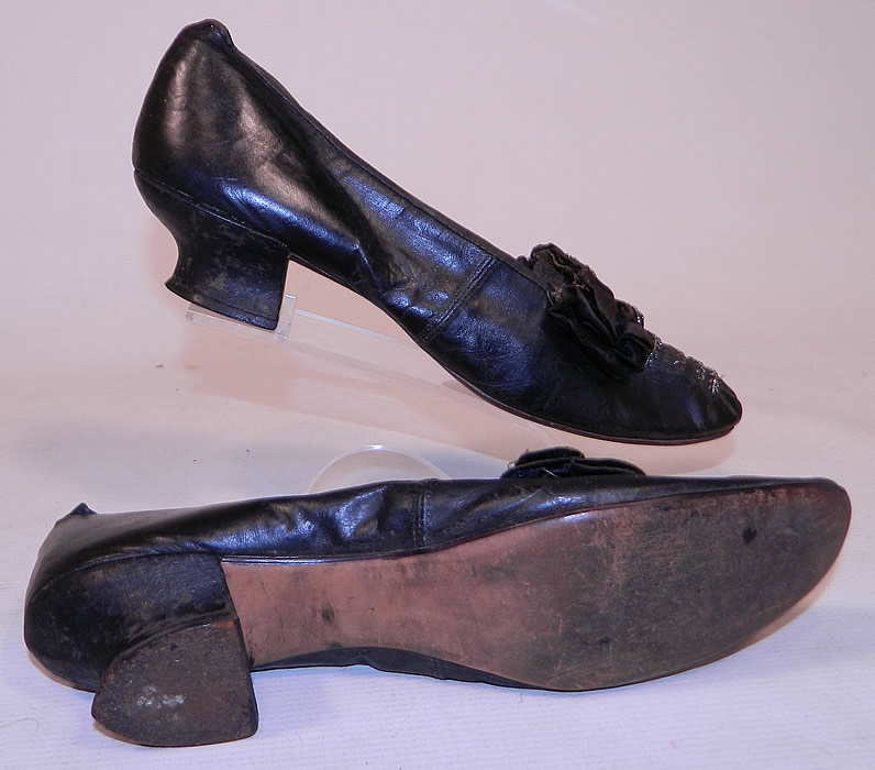 Victorian Black Leather Silk Bow Steel Cut Beaded Louis XV Heel Shoes