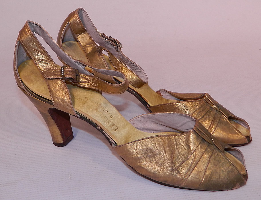 Vintage E.T. Slatter Co. Boston Label Gold Leather Ankle Strap Evening Dance Shoes