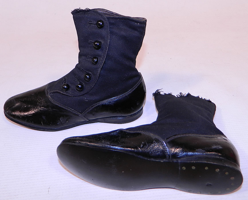Victorian Black Wool & Leather High Button Baby Boots Childs Shoes