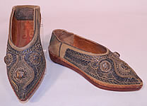 Vintage Moroccan Ladies Mules Cherbil Knotted Metal Embroidery Velvet Slipper Shoes