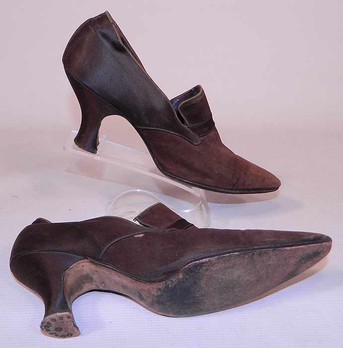 Vintage Chocolate Brown Silk & Suede Leather Pointed Toe Tongue Shoes