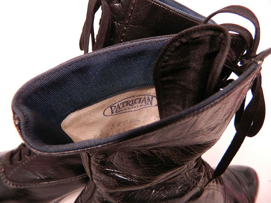 Unworn Victorian Vintage Patrician Label Black Leather High Top Lace-up Boots