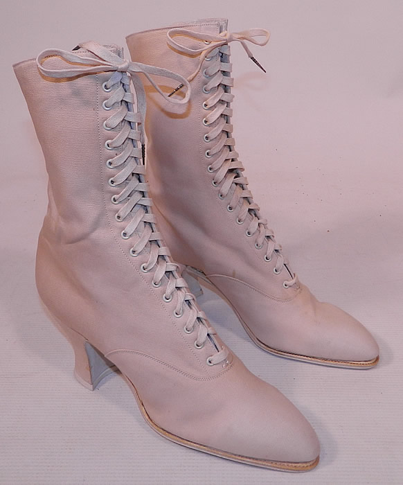Unworn Victorian Vintage White Cream Canvas High Top Lace-up Boots Shoes