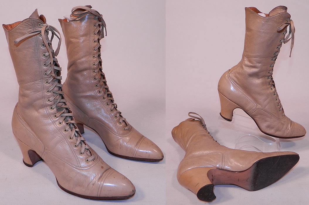 Victorian Antique Ecru Beige Leather High Top Lace-up Boots Swope Shoe Co.
